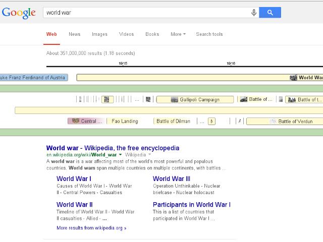 Des frises chronologiques dans Google