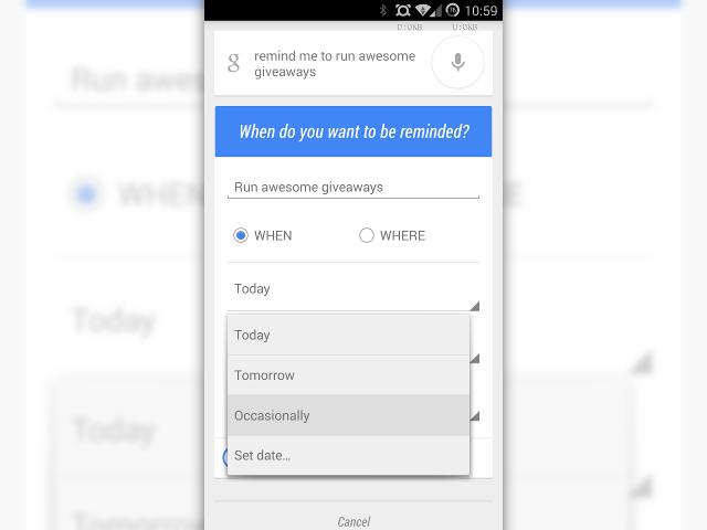 Google Now intègre les rappels occasionnels