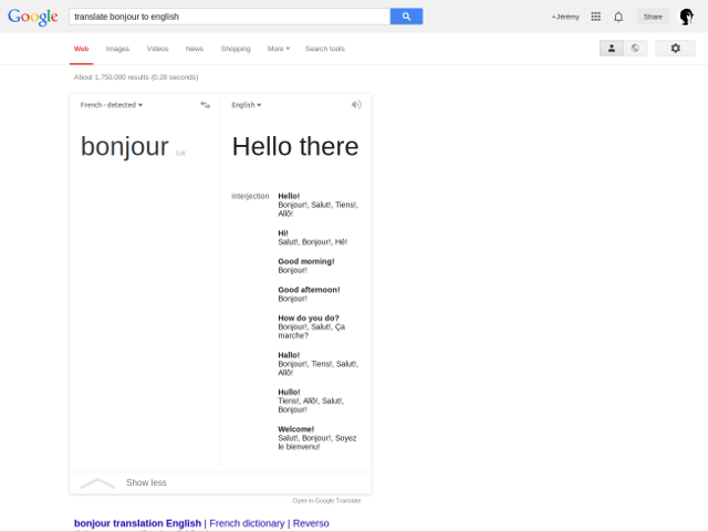 Google Translate dans Search