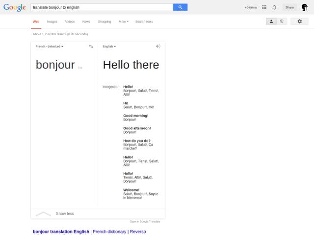 Google Translate dans Search