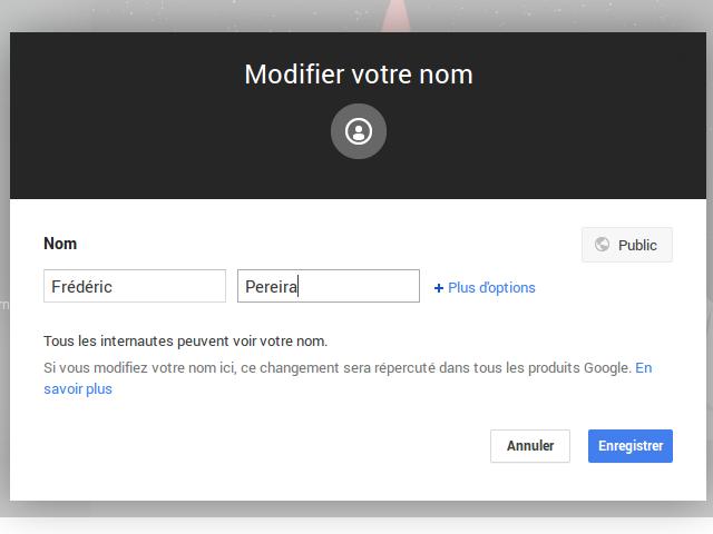 Le nom sur Google+