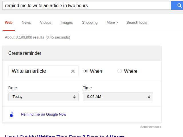 Les rappels Google Now dans Search