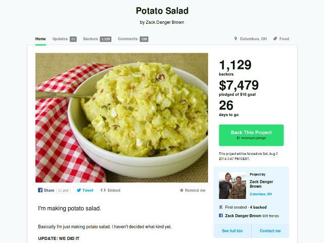 La salade de patates qui déchaîne Kickstarter