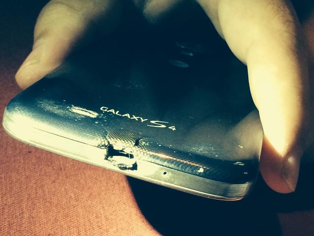 Samsung Galaxy S4 brûlé