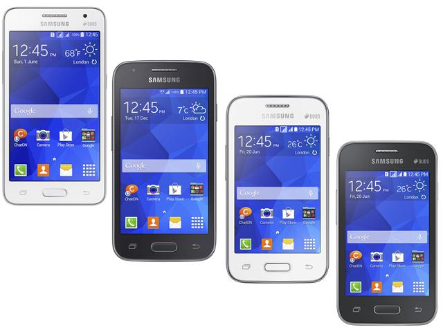Les quatre nouveaux smartphones de Samsung avec, de gauche à droite : le Core II, le Ace 4, le Young 2 et le Star 2