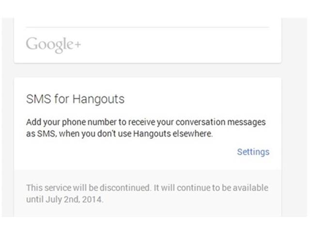 SMS for Hangouts, c'est terminé