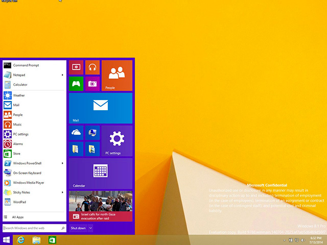 Menu démarrer Windows 9