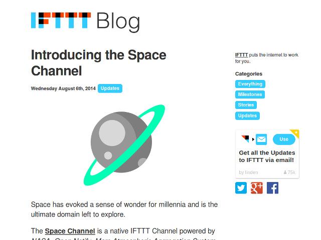 La chaîne Space de IFTTT