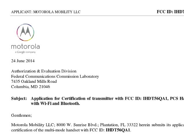 Le Moto X+1 à la FCC
