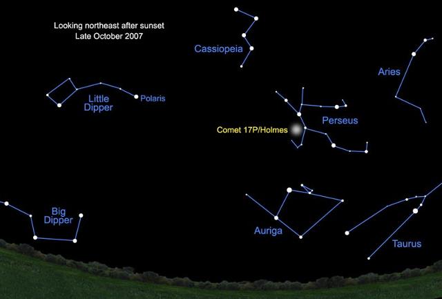 Persée et Cassiopée, sur un morceau de carte du ciel