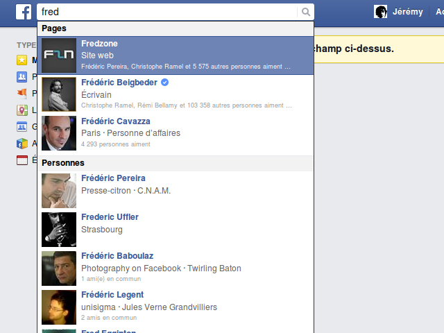 La recherche sur Facebook