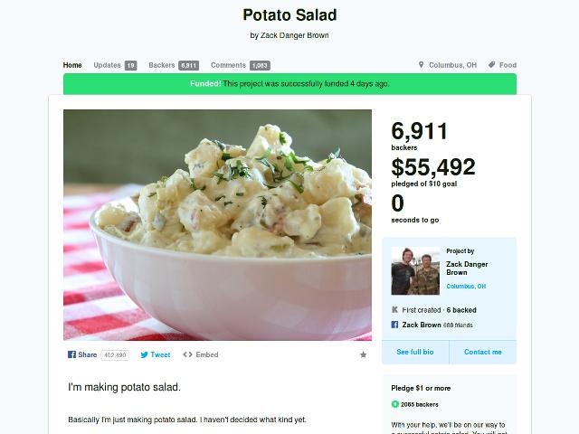 La salade de patates de Kickstarter