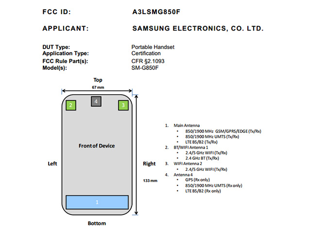 Samsung Galaxy Alpha FCC