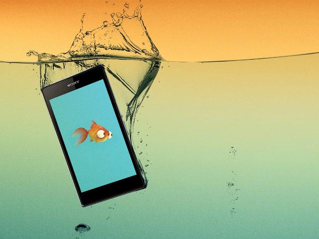 Les smartphones Sony sous l'eau