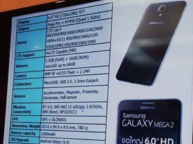 Les spécifications du Samsung Galaxy Mega 2