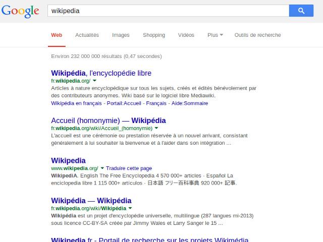 Wikipédia dans Google