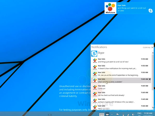 Centre de notifications Windows 9