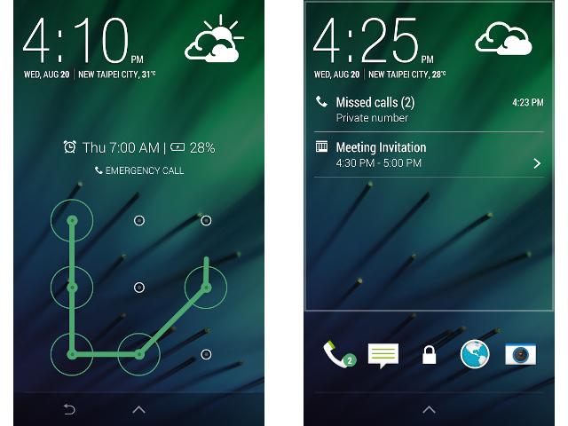 L'écran de verrouillage de HTC