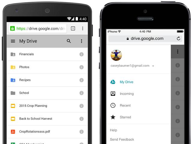 Google Drive sur mobile