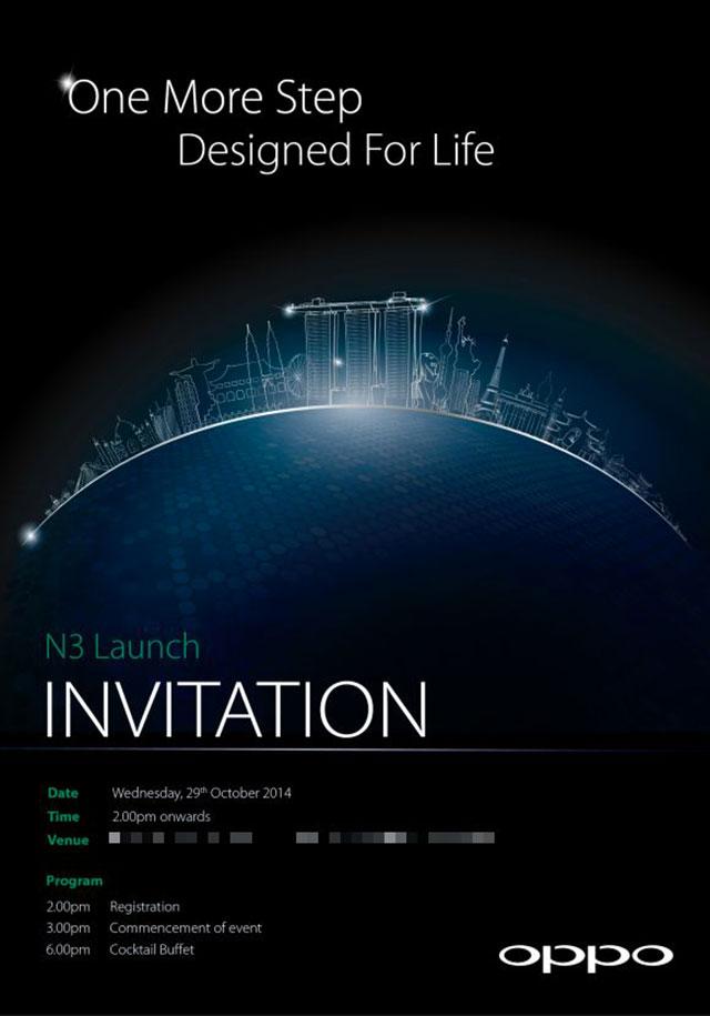 Lancement Oppo N3 Invitation