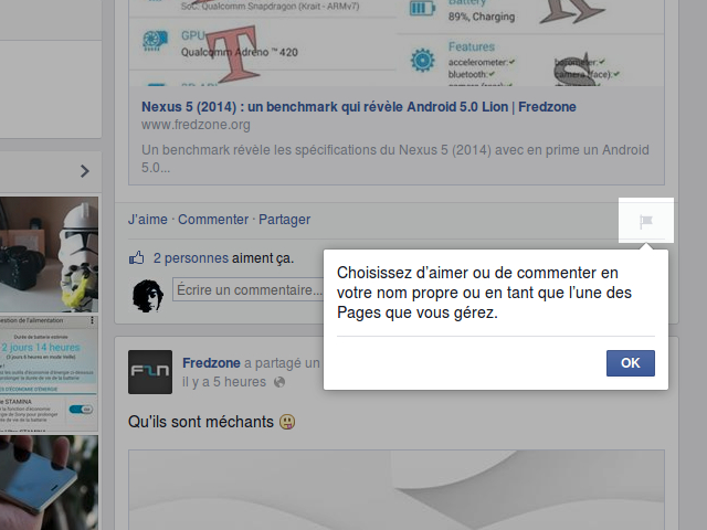 Liste des pages Facebook