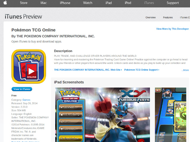 Pokémon TCG sur iPad