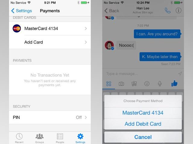 Envoi d'argent via Facebook Messenger