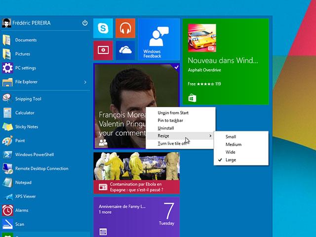 Menu démarrer Windows 10 : capture 2