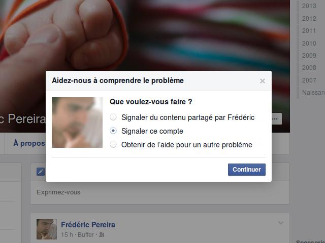 Signaler sur Facebook