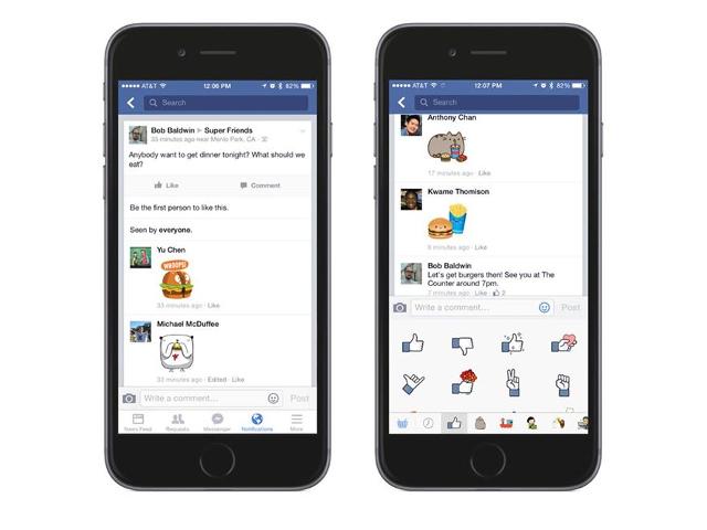 Les stickers Facebook dans les commentaires