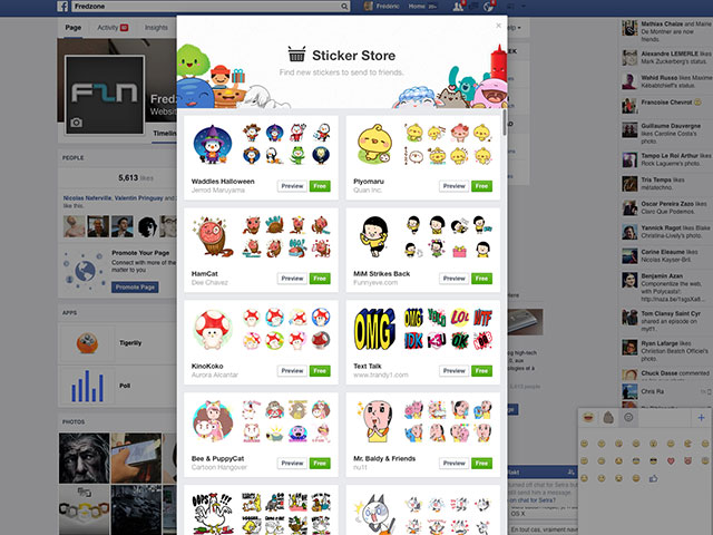 Supprimer autocollants Facebook