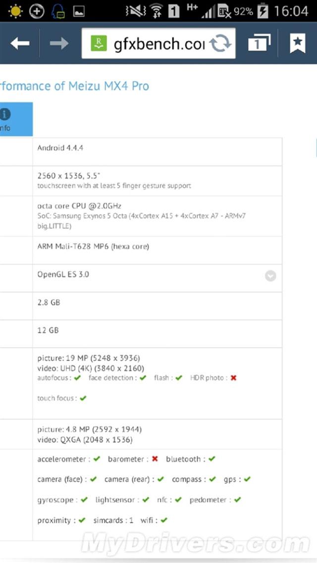 Bench Meizu MX4 Pro