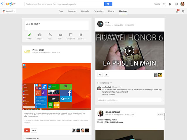 Mentions Google+