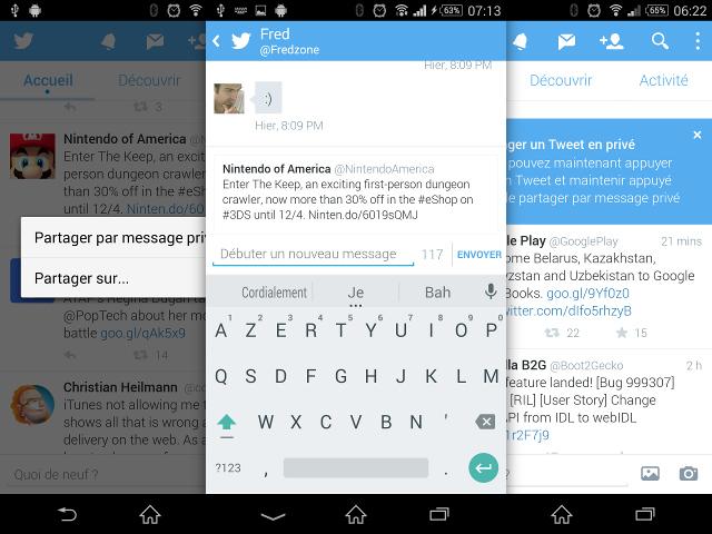 Le partage de tweets via messages privés