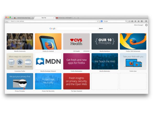 Les tuiles sponsorisées de Firefox
