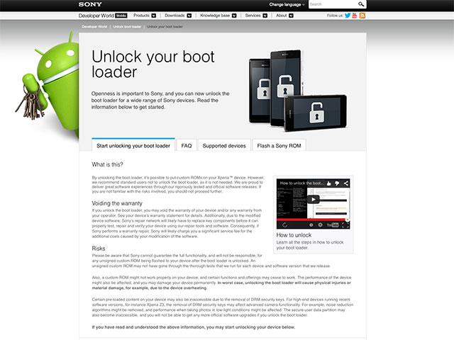 Déverrouiller bootloader Xperia
