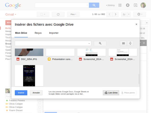 Google Drive et Gmail, ça évolue