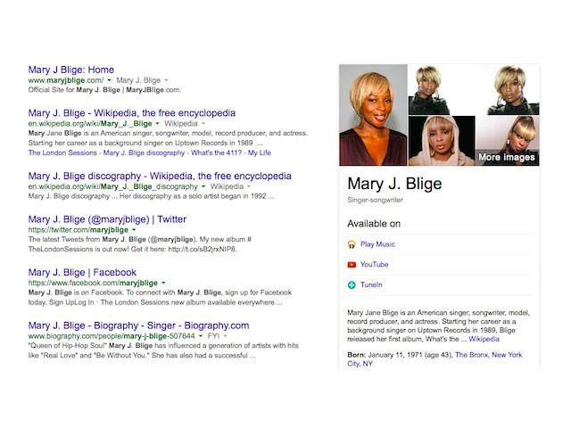 Carte musique Knowledge Graph Google