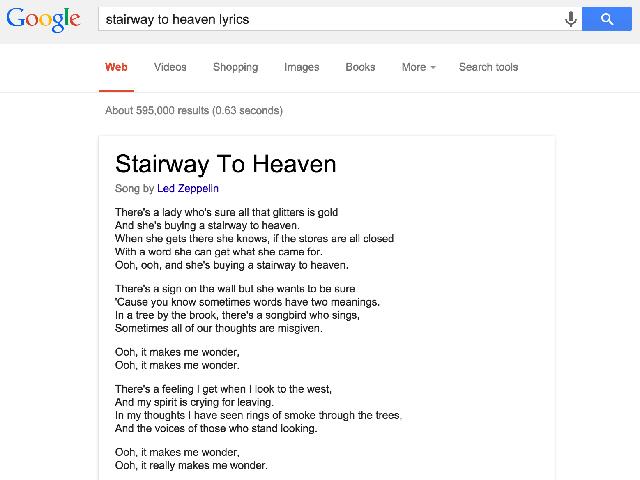 Google et les paroles de musique
