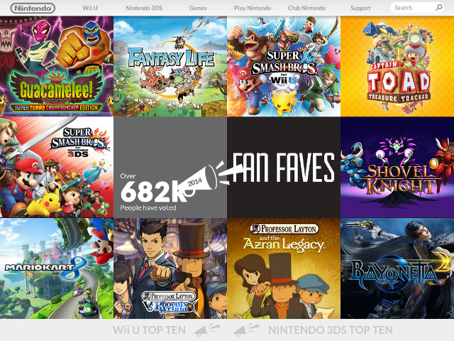 Les jeux les plus populaires de Nintendo en 2014