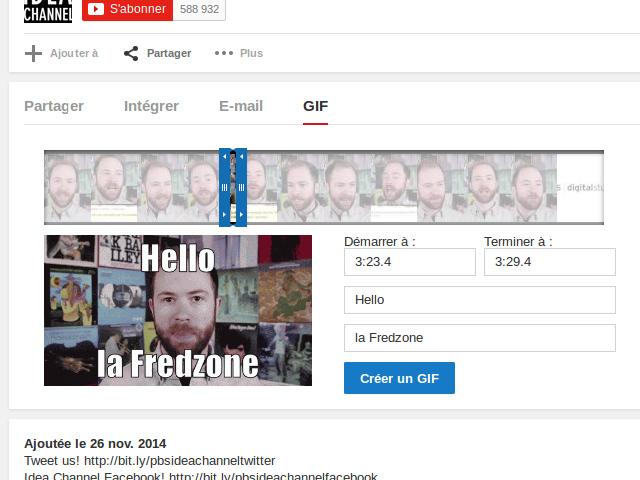 YouTube génère des GIF