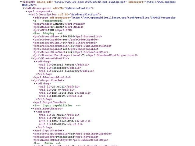 User Agent Profile Galaxy S6