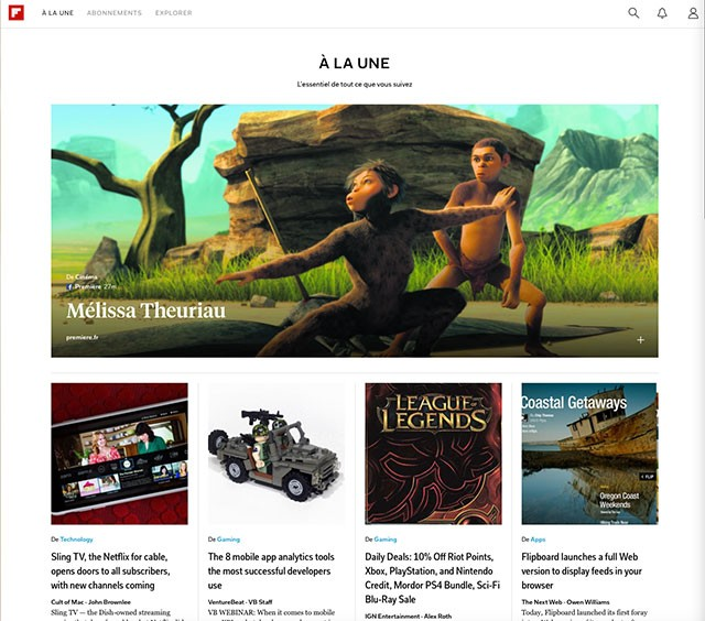 Flipboard web : capture 1