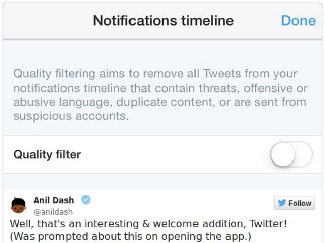 Le nouveau filtre de Twitter