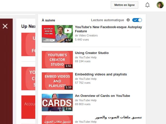 Lecture automatique sur YouTube