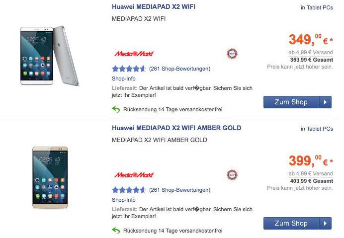 Capture prix MediaPad X2 1
