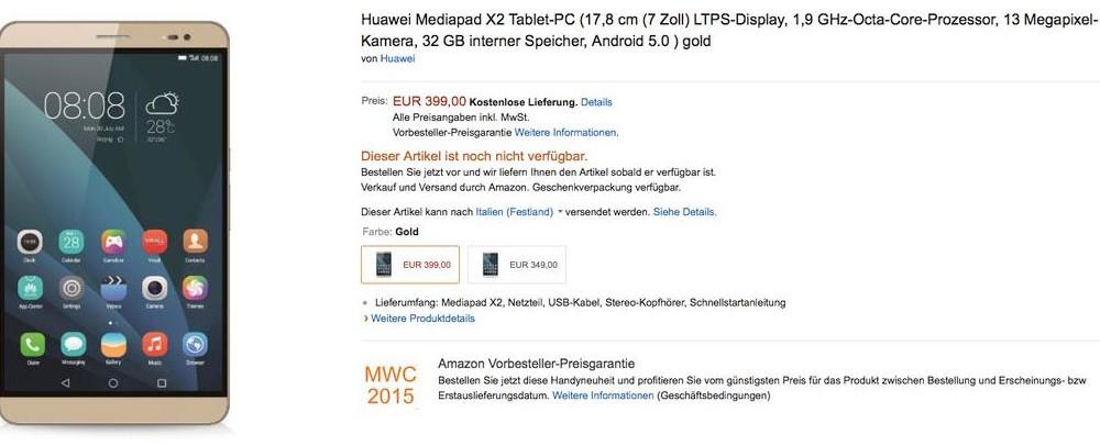 Capture prix MediaPad X2 2