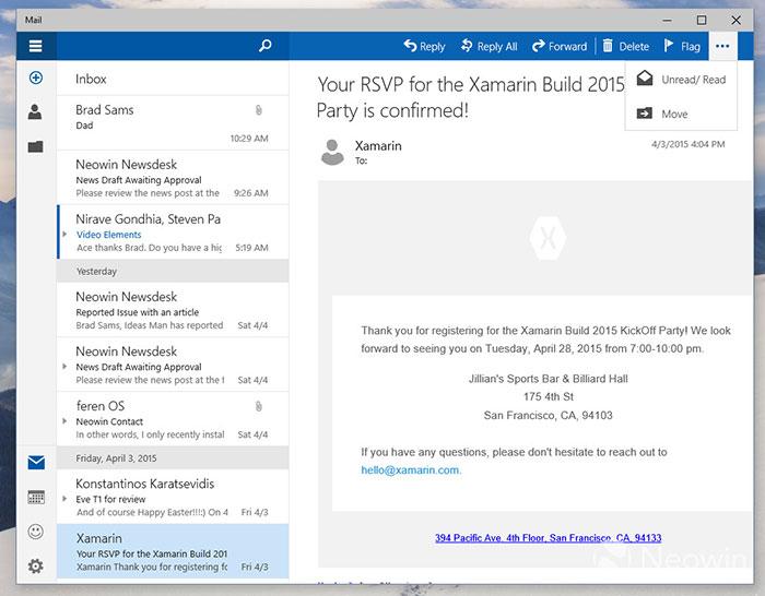 Mail Windows 10 : capture 3