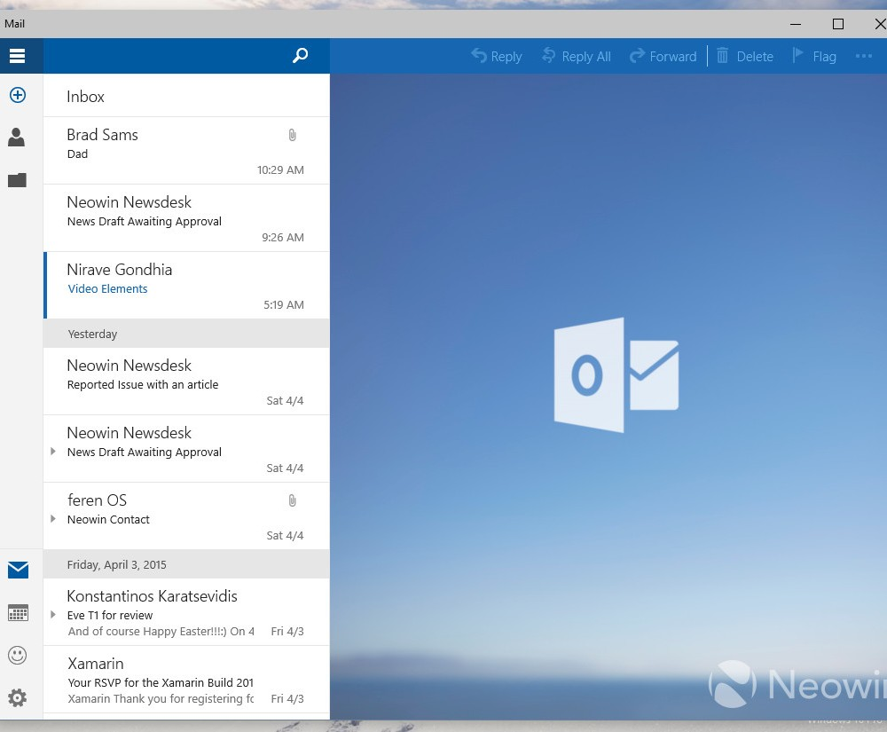 Mail Windows 10 : capture 4