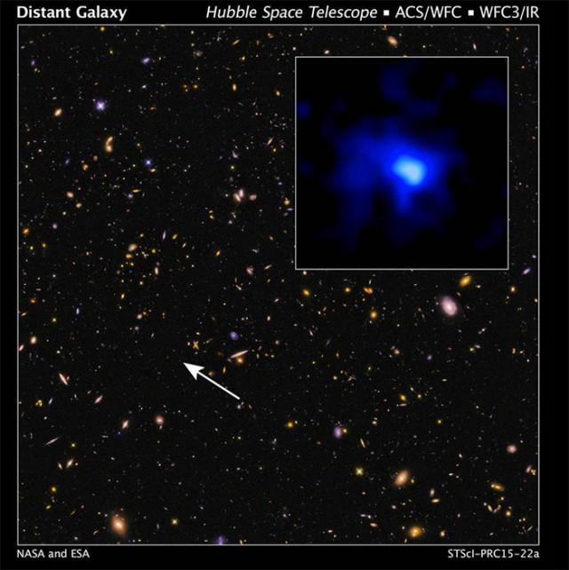 Cette galaxie se trouve à 13,1 milliards d'années-lumière de la Terre